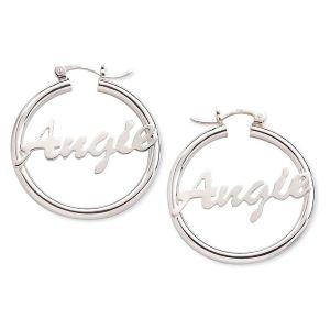 Sterling Silver Personalized Hoop Earrings
