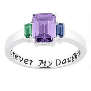 Sterling Silver Forever My Daughter Birthstone Ring
