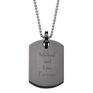 Personalized  Black Dog Tag Necklace
