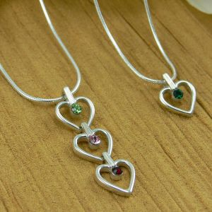 Sterling Silver Chain  with 1 Birthstone Heart Charm