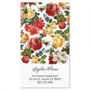 Victorian Roses Vertical Business Cards
