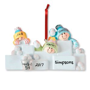 Snowball Fight Personalized Christmas Ornaments