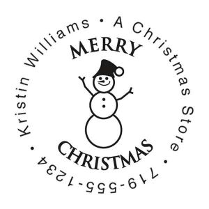 Snowman Family Christmas Round Stamp