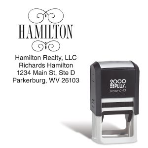 Last Name Square Address Stamp