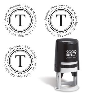 Monogram Round Self-Inking Address Stamp