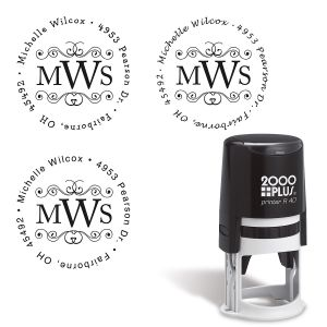 Round Monogram Address Stamp