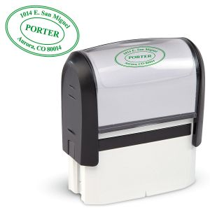 Oval Address Stamp-Green Ink-478016