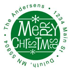 Merry Christmas Fun Green Ink Address Stamp