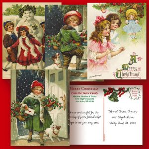 Vintage Christmas  Postcards  (4 Designs)