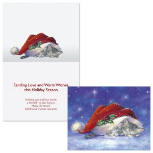 Santa Hat Snuggles  Note Card Size Christmas Cards