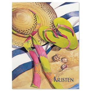 Striped Towel Personalized Note Cards