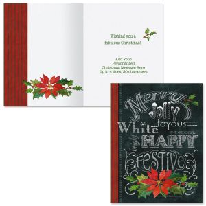 Merry, Jolly, Festive   Note Card Size Christmas Cards