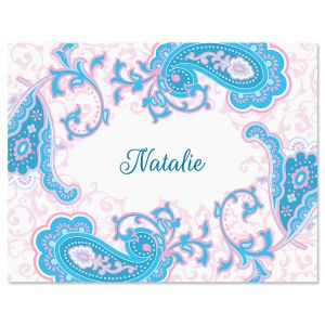 Tranquil Turquoise Personalized Note Cards