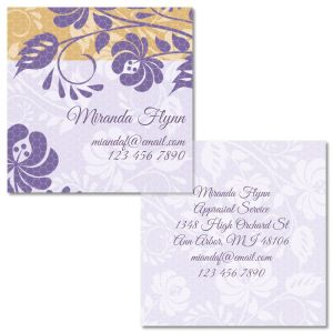 Frosty Lavender Double-Sided Square Business Cards
