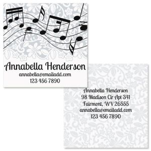 White-Grey-Black Double-Sided Square Business Cards