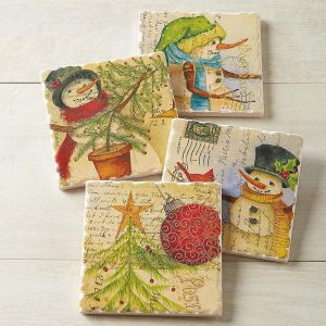 Postcard Christmas Coasters