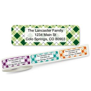 Argyle Rolled Return Address Labels (5 Designs)