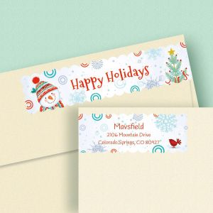 Snowman Connect Wrap Diecut Address Labels