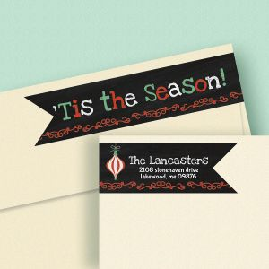 Chalkboard Christmas Connect Wrap Diecut Address Labels
