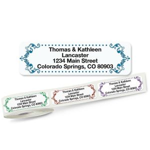 Flourish Rolled Return Address Labels  (5 Designs)
