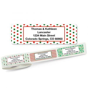 Christmas Holly Rolled Return Address Labels  (5 Designs)