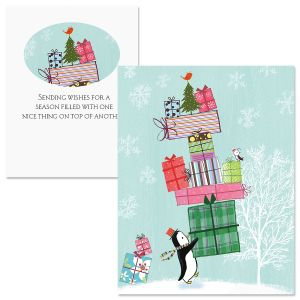 Penguin Presents Note Card Size Christmas Cards