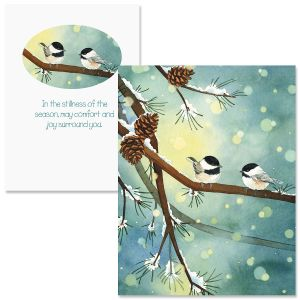Pine Birds Note Card Size Christmas Cards