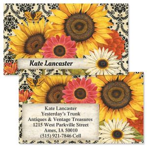 french sunflower double sided business cards