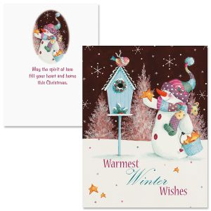 Patchwork Snowman Note Card Size Christmas Cards