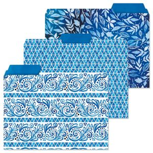 Crazy Quilt Indigo File Folders  (3 Designs)