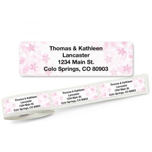 Pretty Pink Floral Rolled Return Address Labels