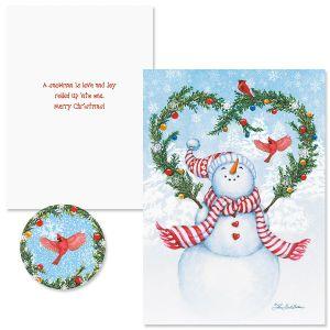 Snowman's Heart Christmas Cards