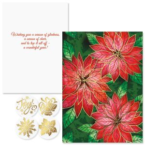 Poinsettia Charm Foil Christmas Cards
