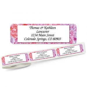 Pink Peony Rolled Return Address Labels