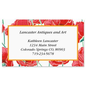 Poppy Paradise Foil Business Cards