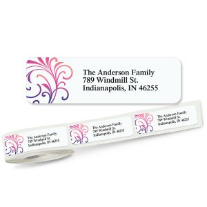 Colorful Swirls Rolled Return Address Labels