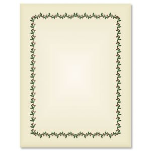 Ecru Holly & Berry Frame Christmas Letter Papers