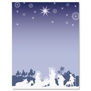 Nativity Silhouette Christmas Letter Papers