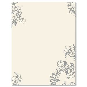 Spring Gray Flourish Letter Papers