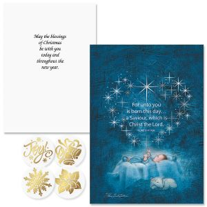 Star Heart Nativity Foil Christmas Cards