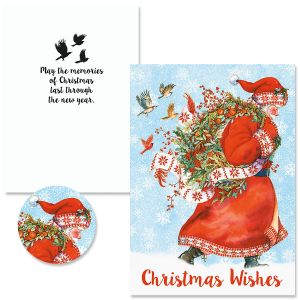Santa Wreath Christmas Cards