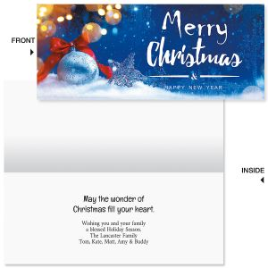 Snow Christmas Slimline Holiday Cards