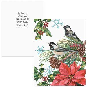 Christmas Chickadee Note Card Size Christmas Cards