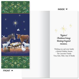 Blue Manger Christmas Slimline Holiday Cards