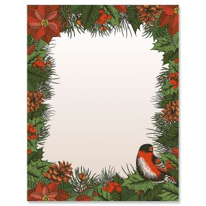 Winter Bird Christmas Letter Papers