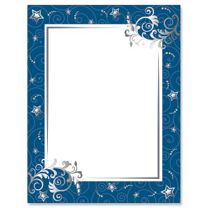 navy stars spirals letter papers