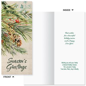 Pine & Berries Slimline Holiday Cards