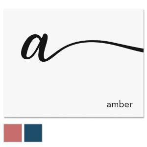 Cursive Initial Custom Note Cards