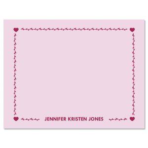 Heart Border Custom Note Cards