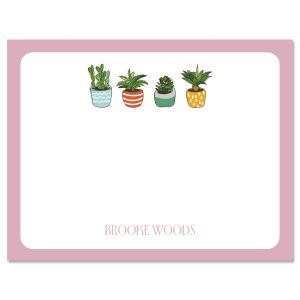Pink Border Succulents Custom Note Cards